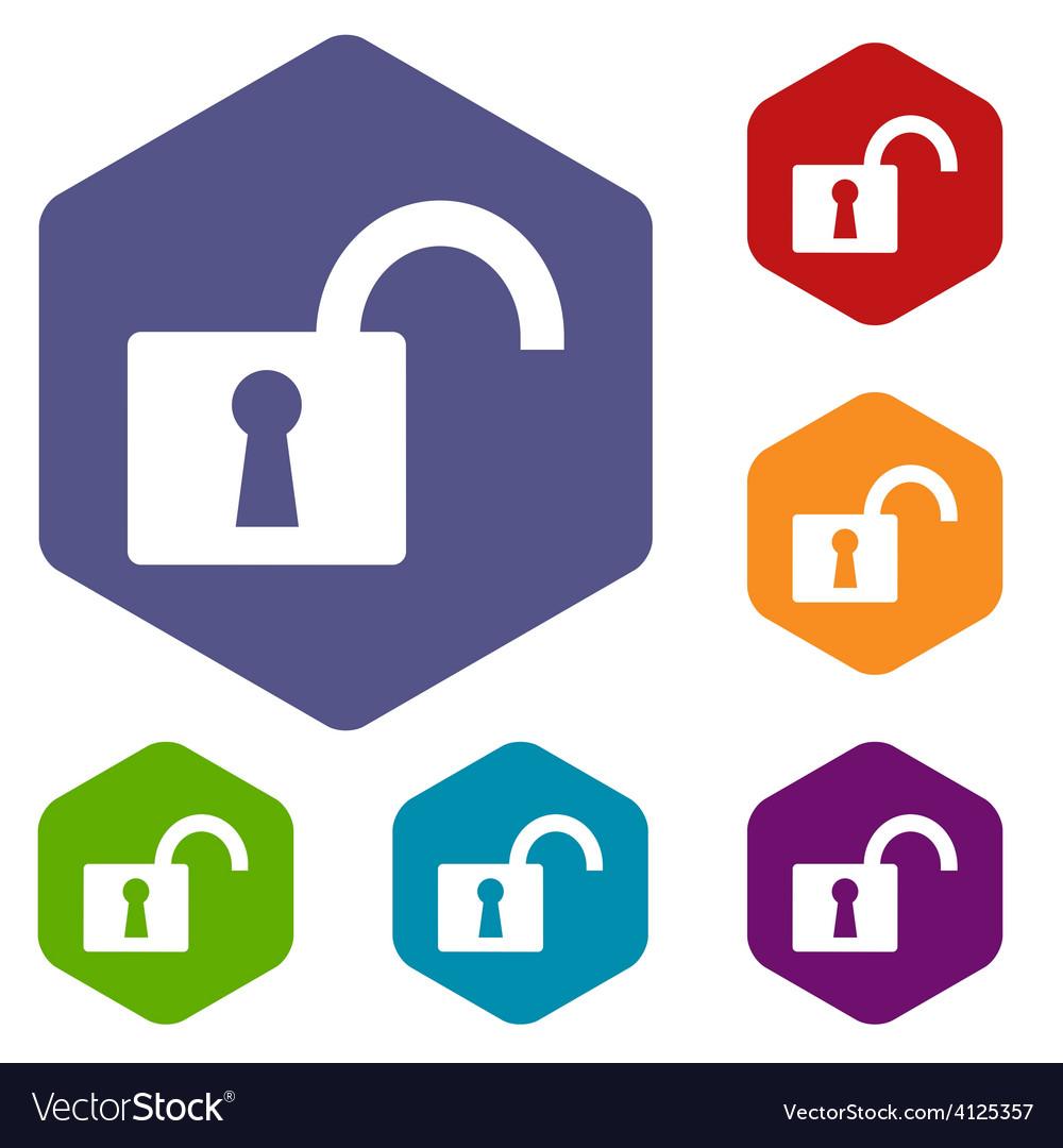 Unlock rhombus icons vector | Price: 1 Credit (USD $1)