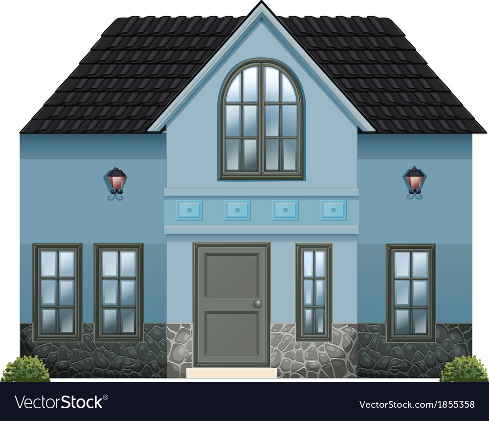 A blue single detached house vector | Price: 1 Credit (USD $1)
