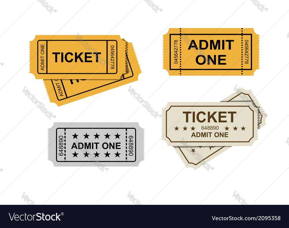 Admit one tickets vector | Price: 1 Credit (USD $1)