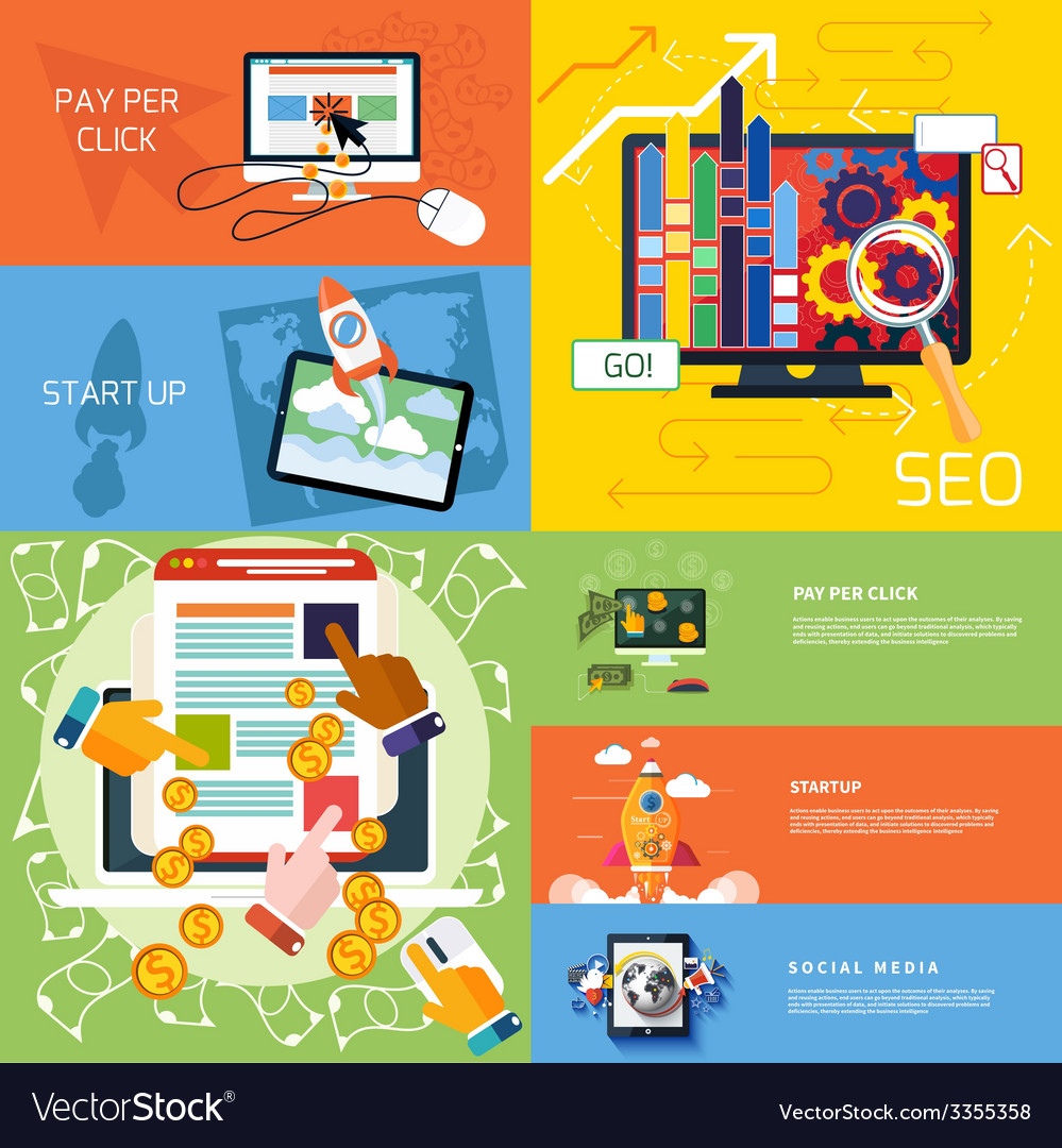 Concept of start up pay per click seo vector | Price: 3 Credit (USD $3)