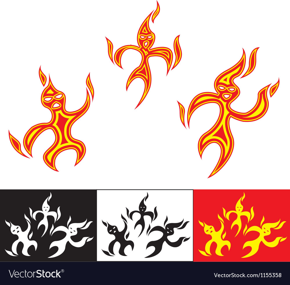 Funny fiery characters vector | Price: 1 Credit (USD $1)