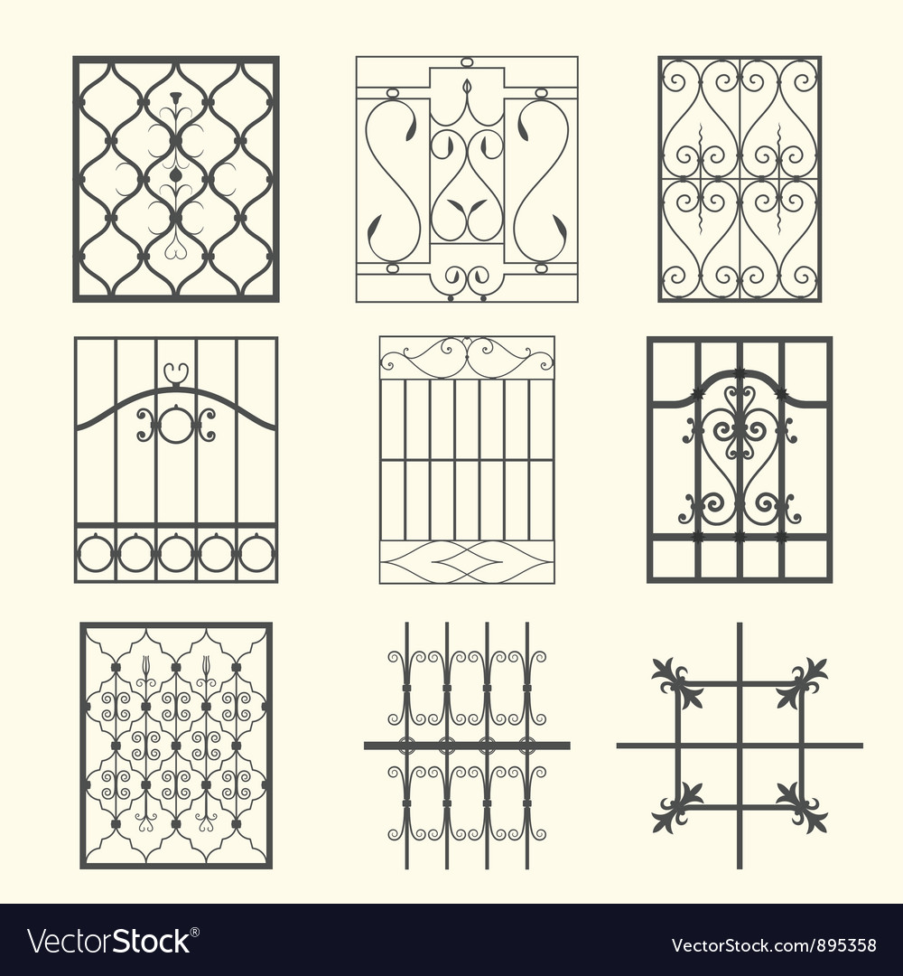 Iron window grills vector | Price: 1 Credit (USD $1)