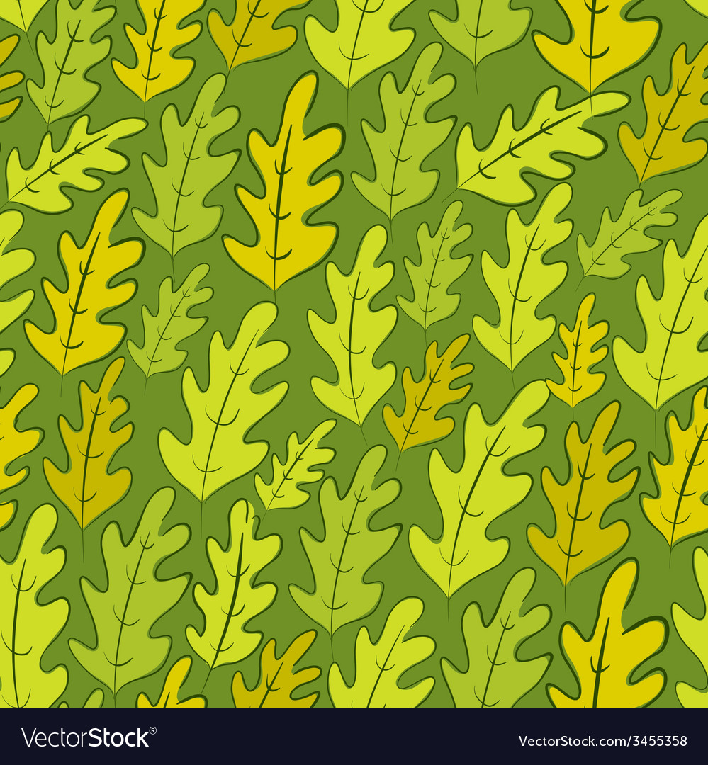 Oak leaves seamless pattern background vector   Price: 1 Credit (USD $1)