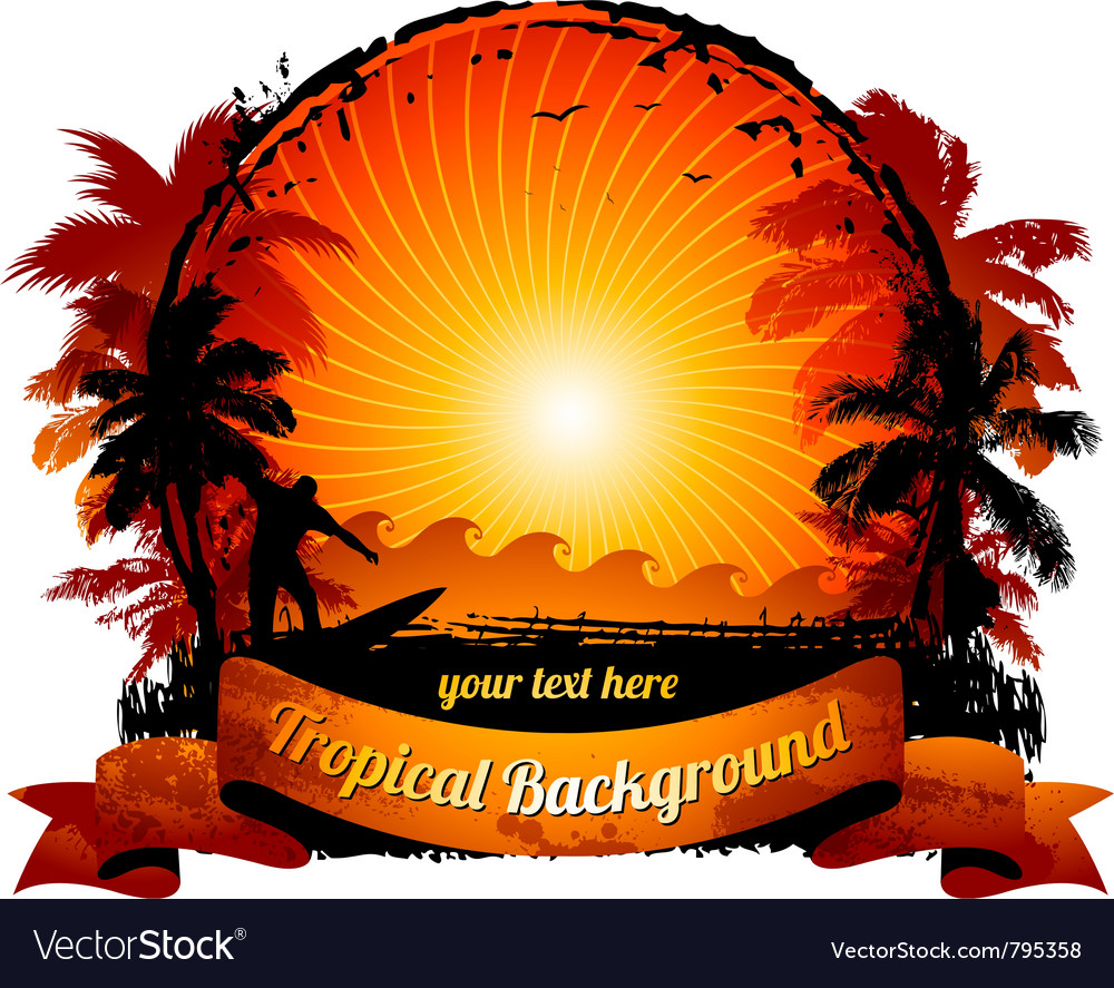 Orange sunset surfing beach vector | Price: 1 Credit (USD $1)