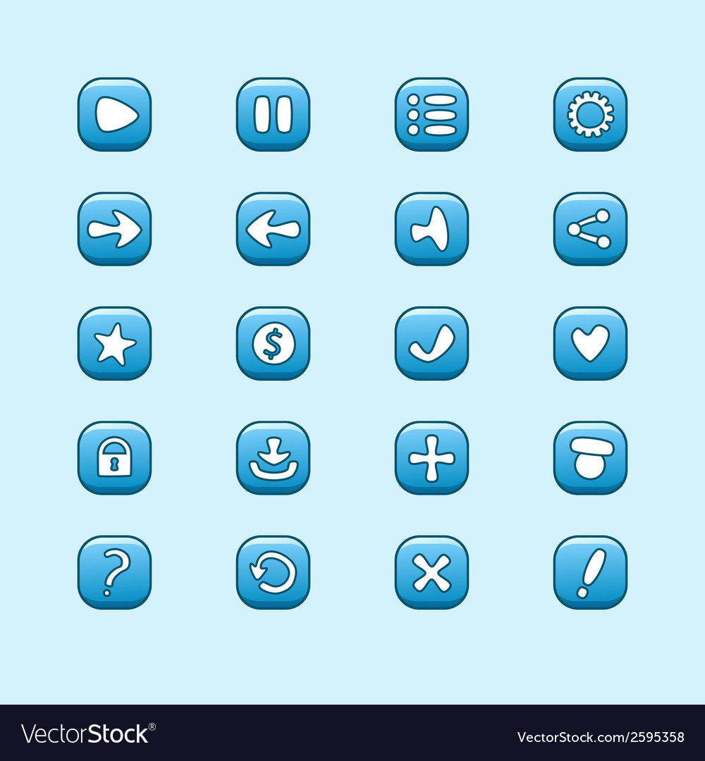 Set of mobile blue elements for ui game design set vector | Price: 1 Credit (USD $1)
