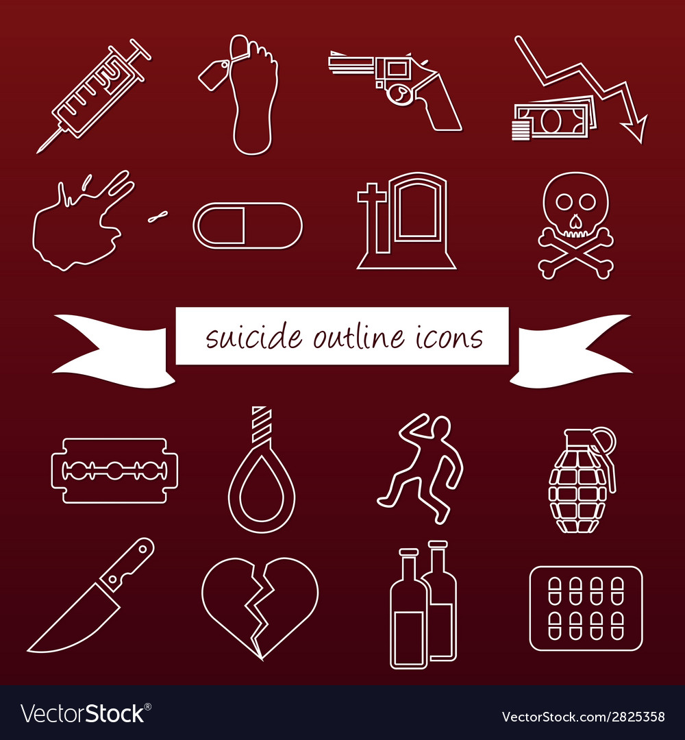 Suicide outline icons vector | Price: 1 Credit (USD $1)