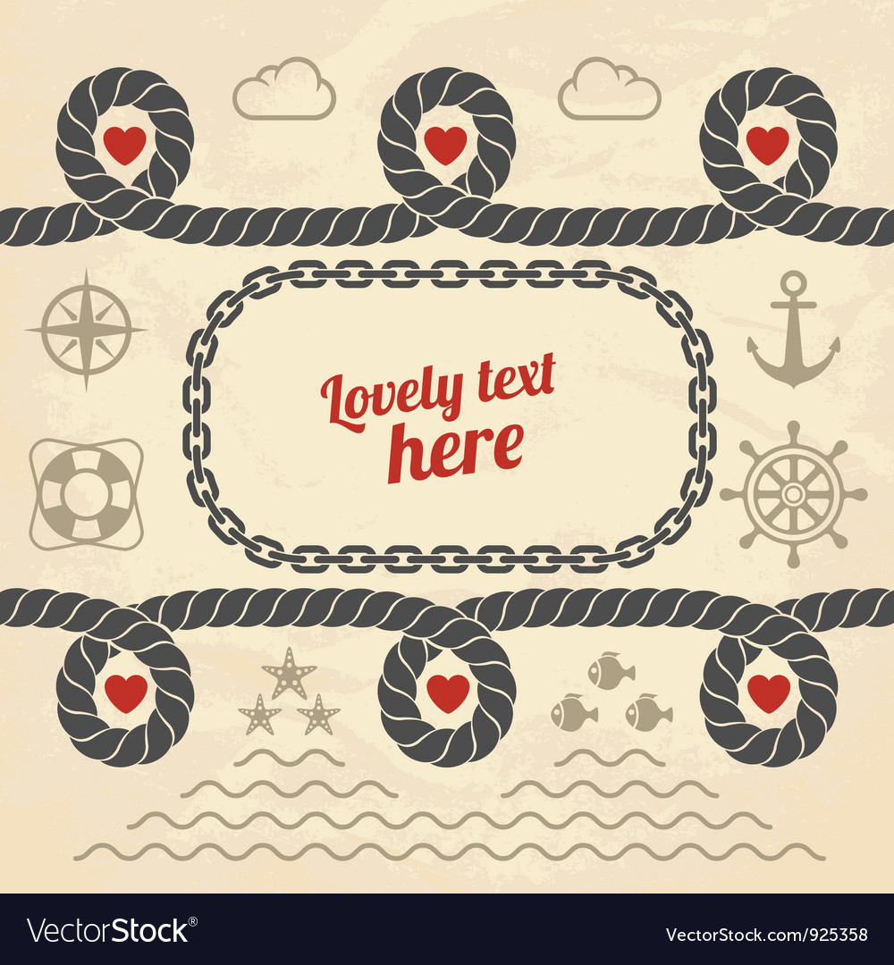 Valentine in marine style vector | Price: 1 Credit (USD $1)