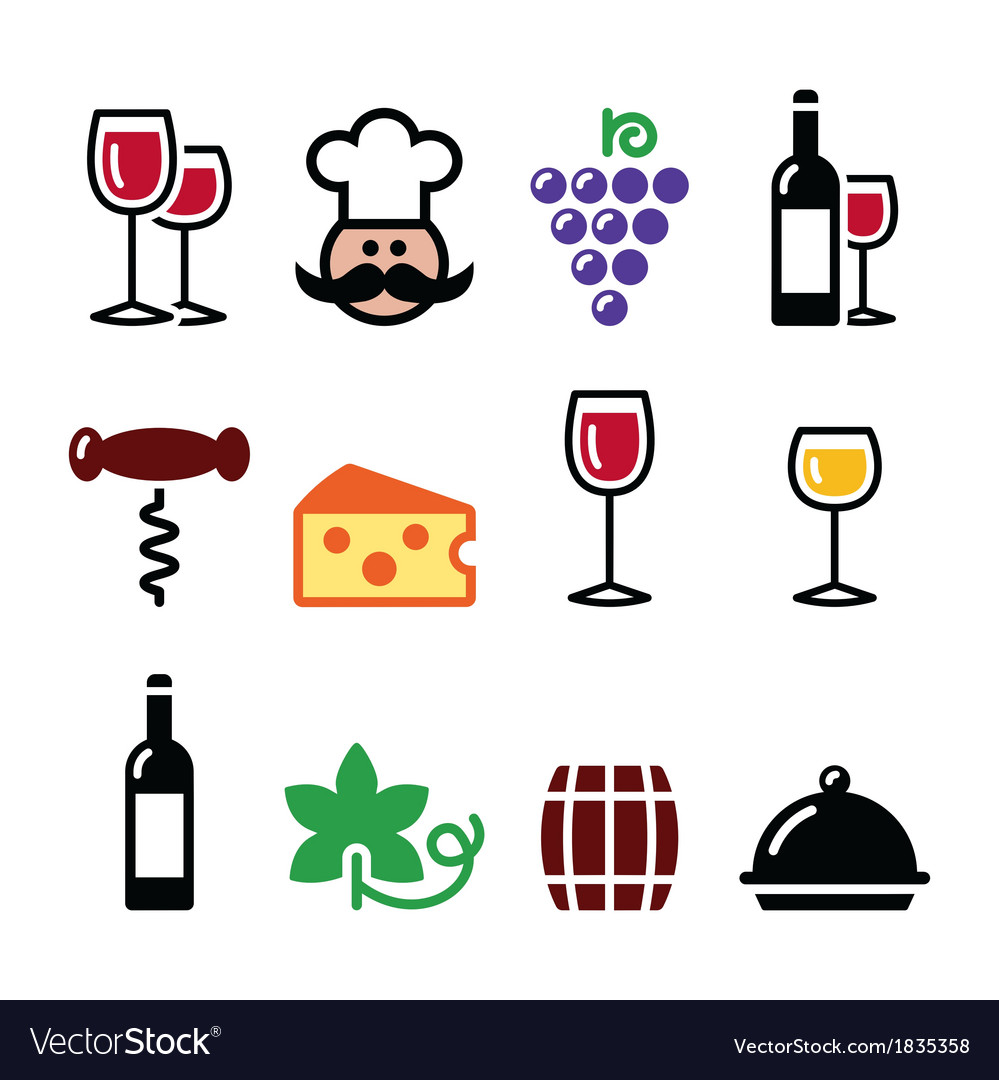 Wine colourful icons set - glass bottle vector | Price: 1 Credit (USD $1)