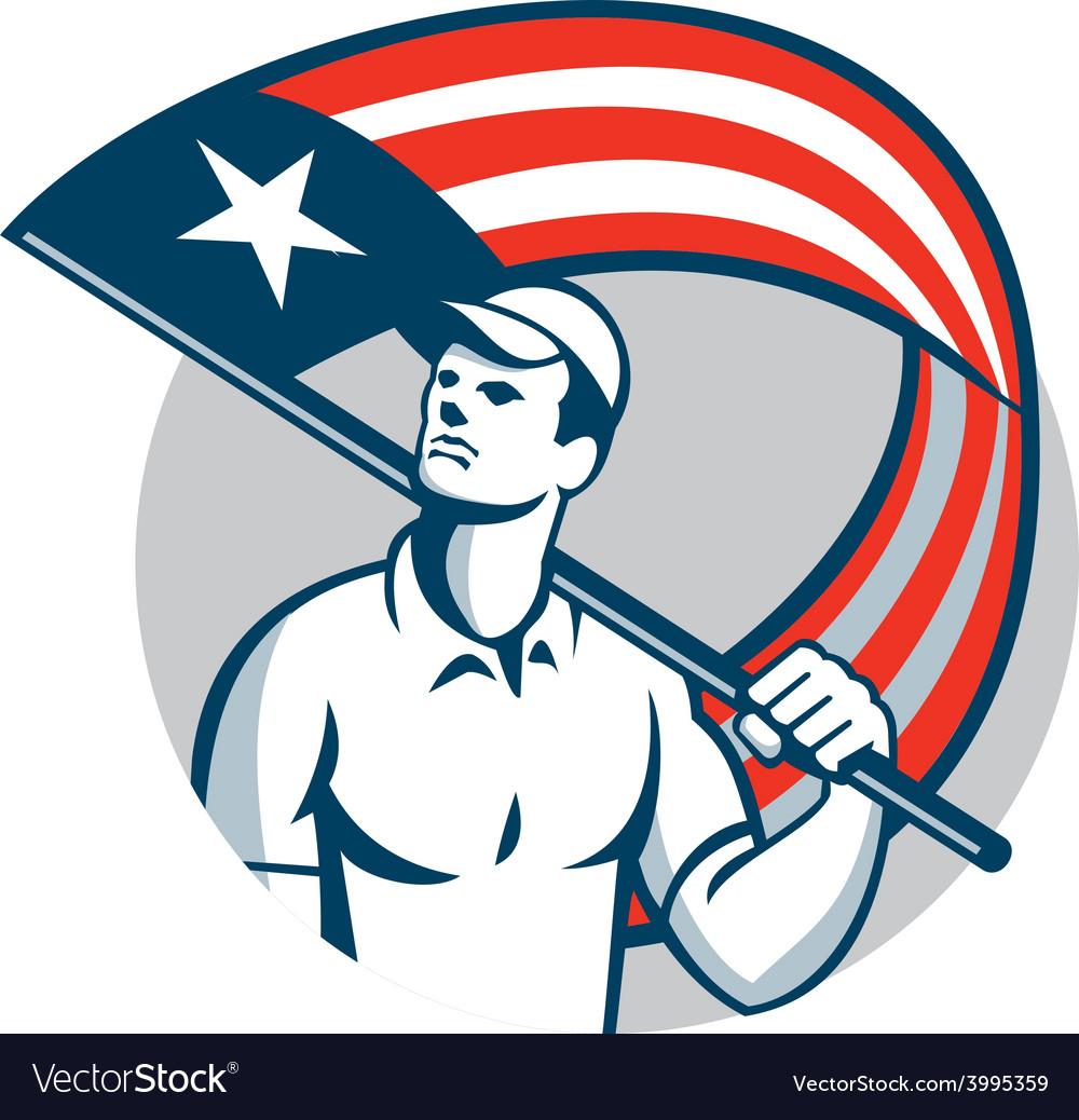 American tradesman holding usa flag circle vector | Price: 1 Credit (USD $1)