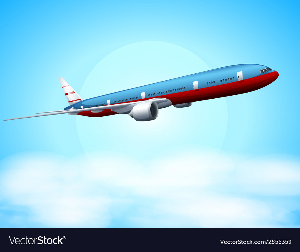 An aeroplane in the sky vector | Price: 1 Credit (USD $1)