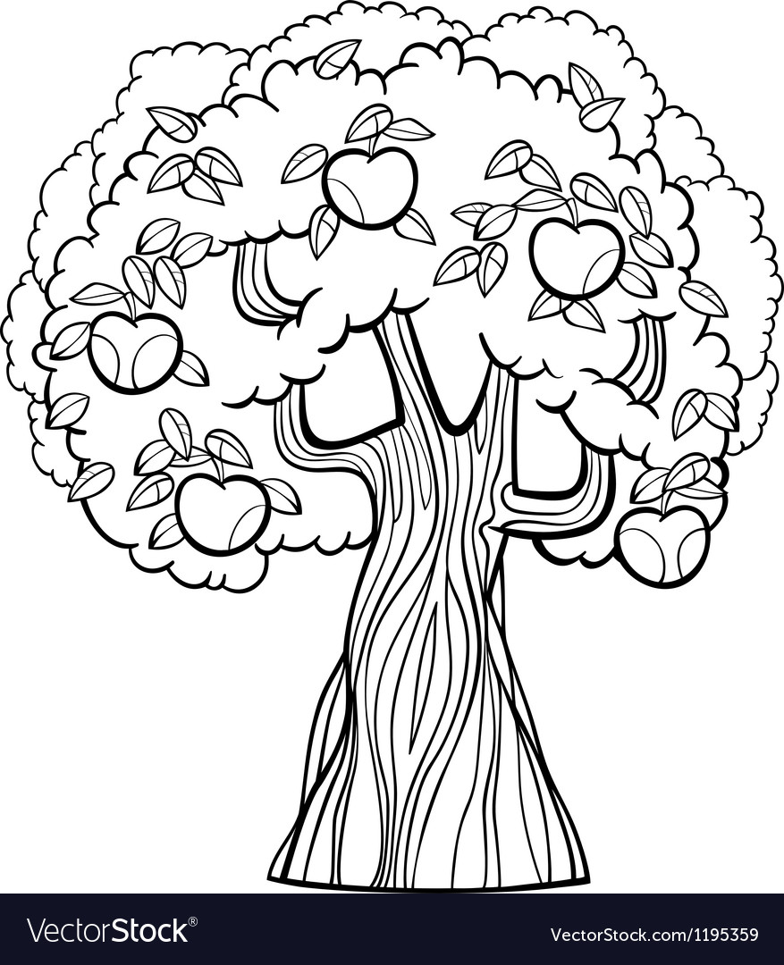 Apple tree cartoon for coloring book vector | Price: 1 Credit (USD $1)