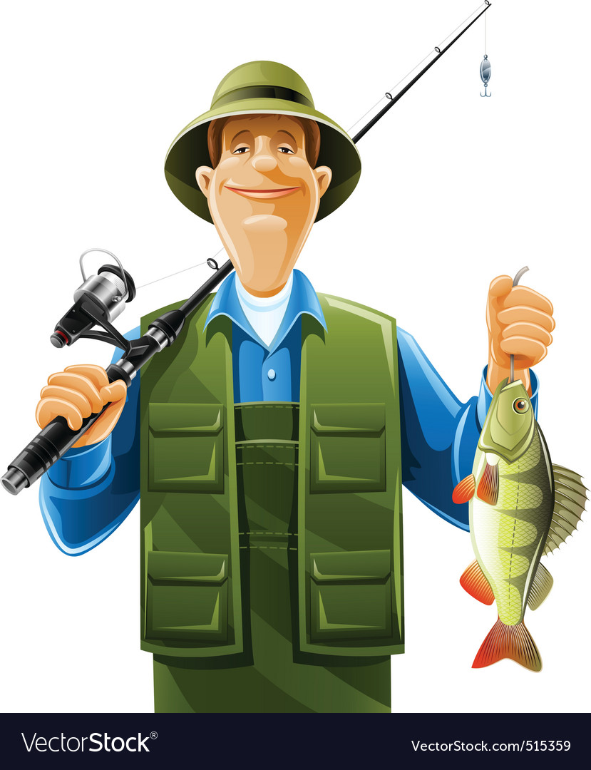 Fisherman with fish vector | Price: 5 Credit (USD $5)