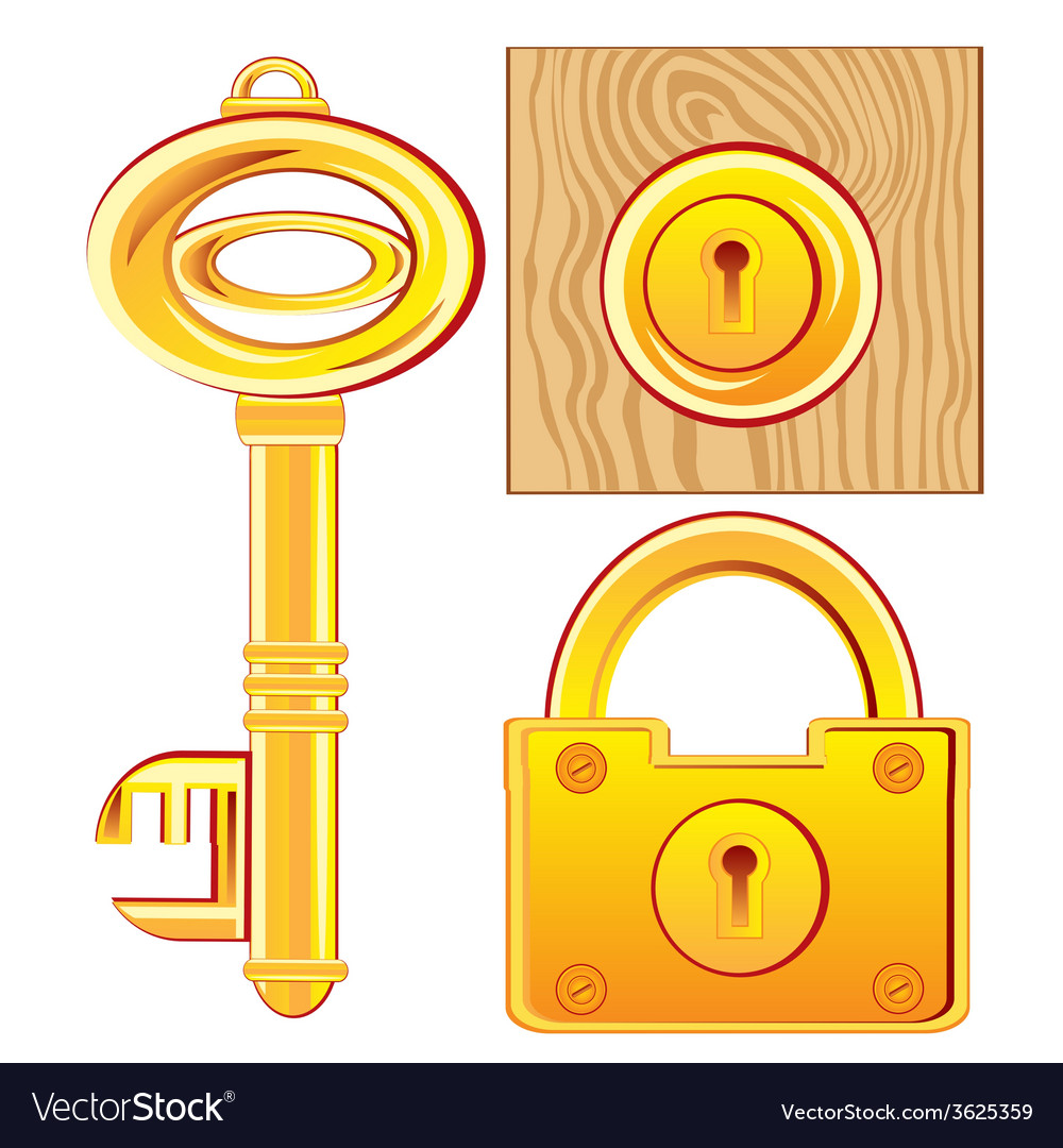 Gold key and lock vector | Price: 1 Credit (USD $1)