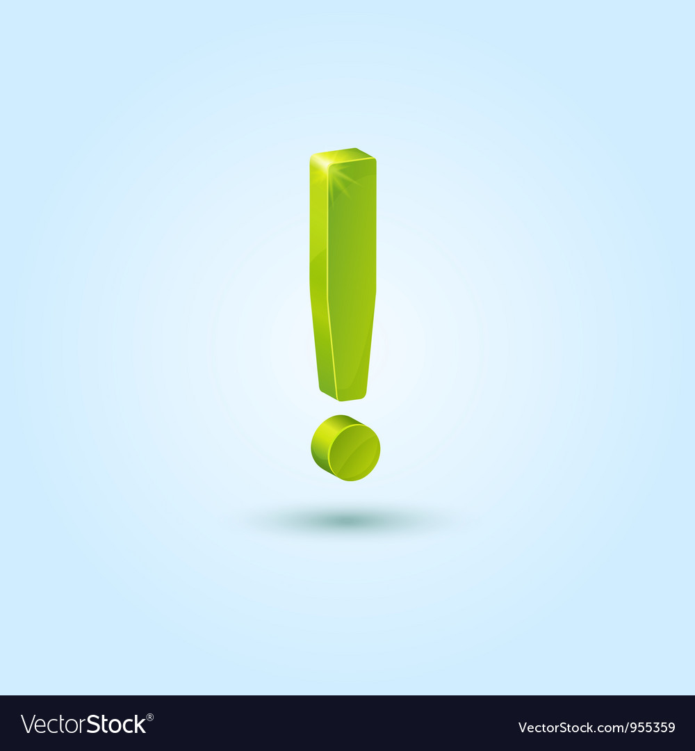 Green exclamation mark isolated on blue background vector | Price: 1 Credit (USD $1)