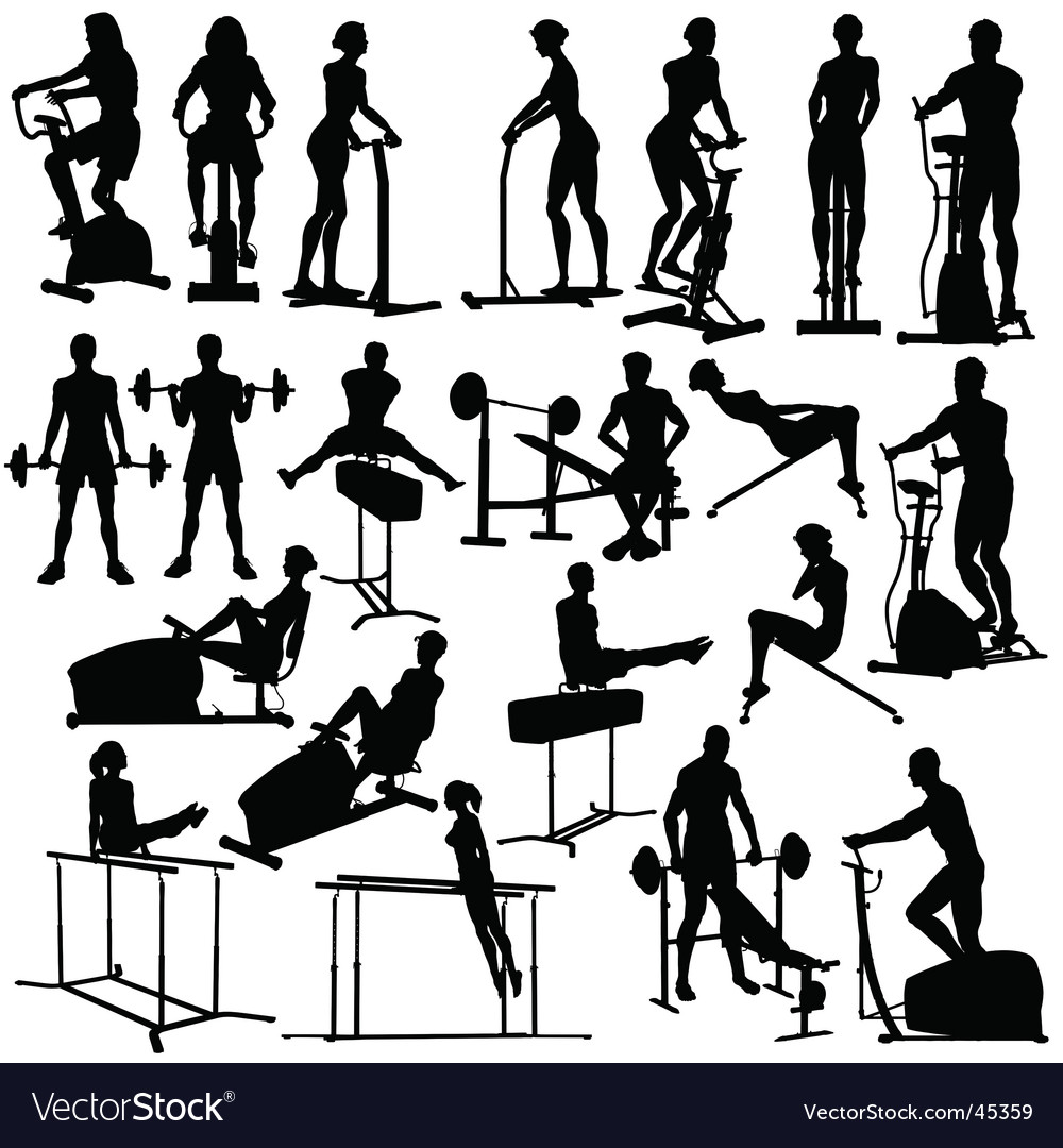 Gym workout silhouettes vector | Price: 1 Credit (USD $1)