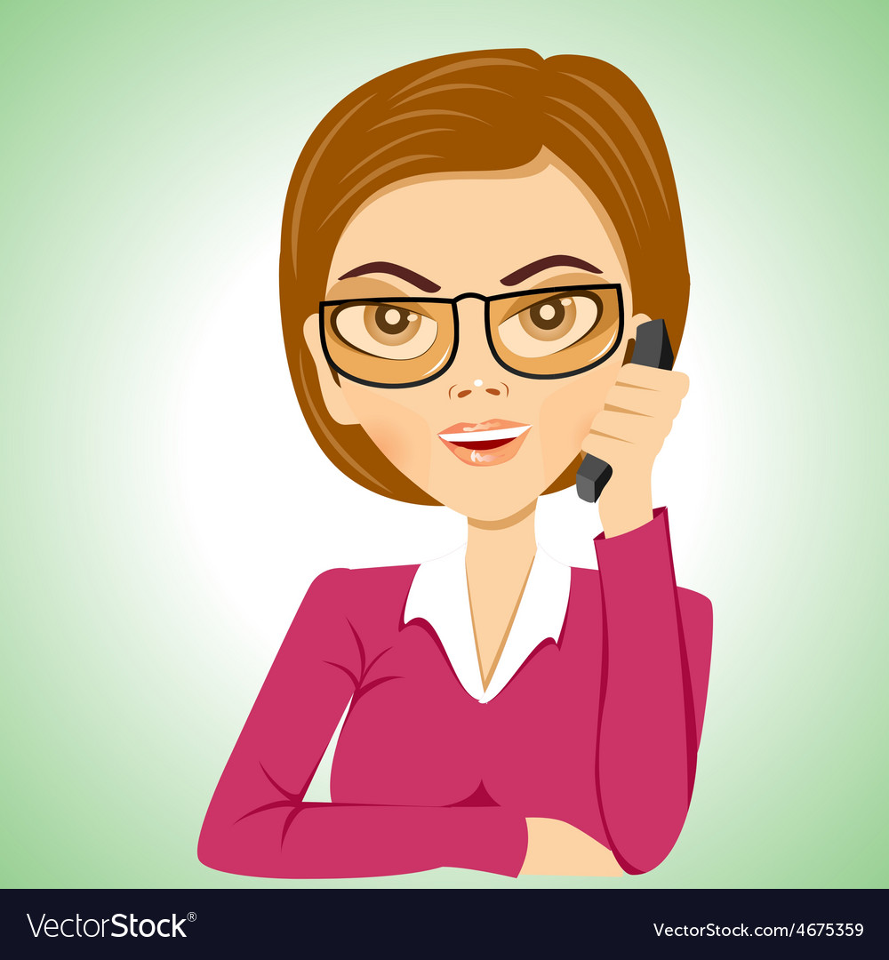 Secretary with glasses talking on phone vector | Price: 1 Credit (USD $1)