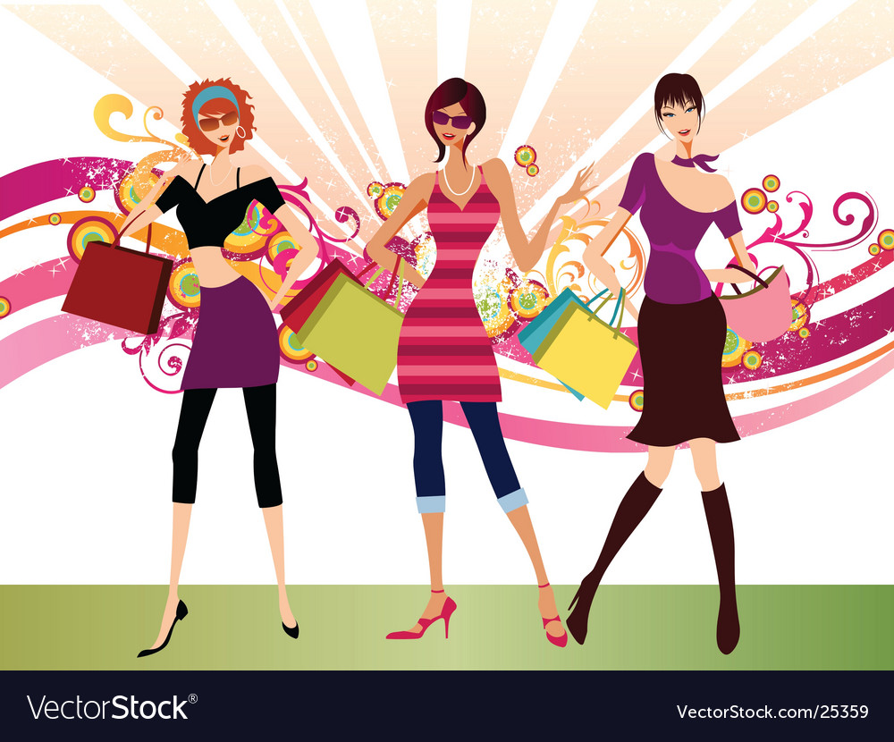 Shopping fashion girls vector | Price: 3 Credit (USD $3)
