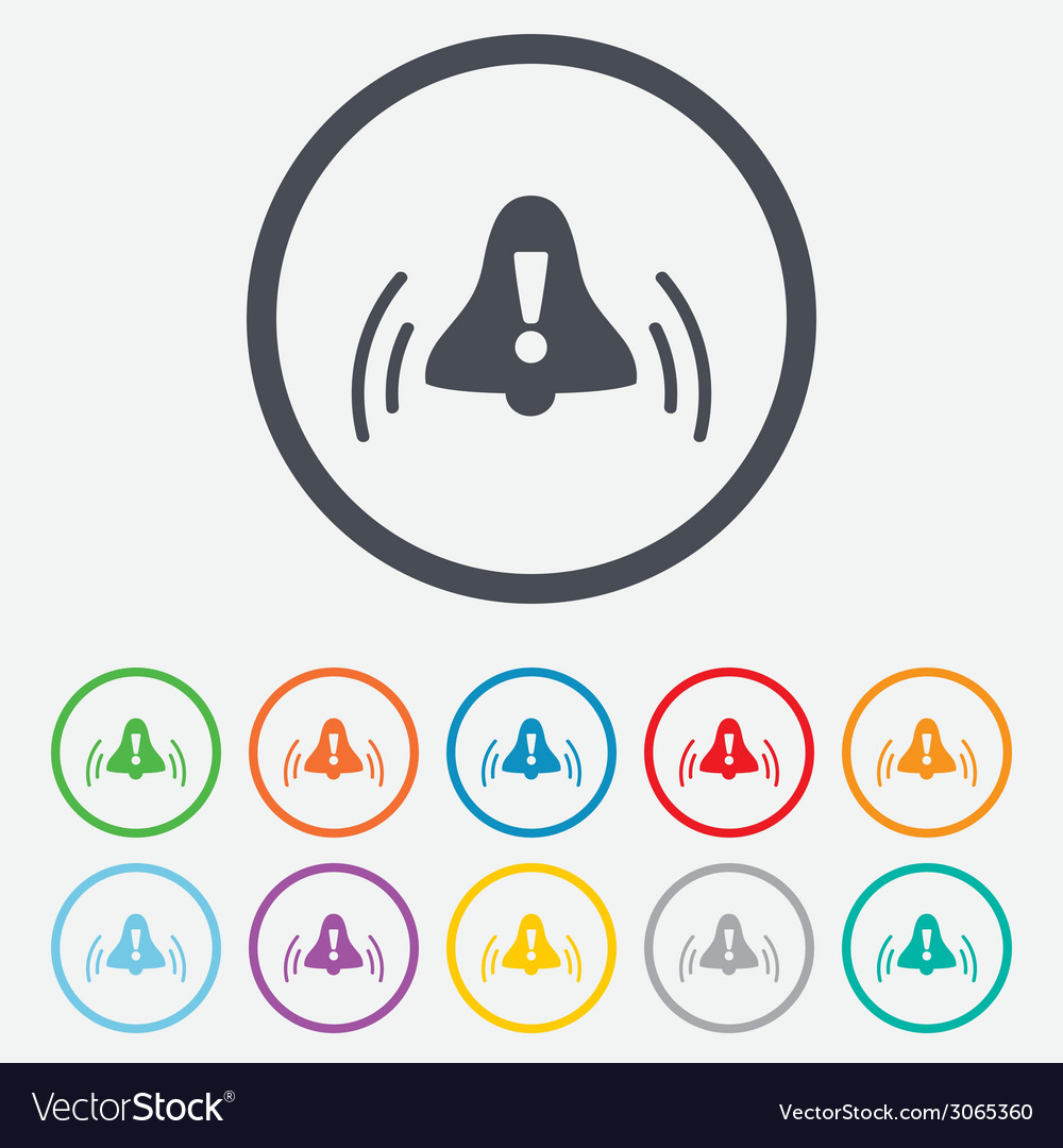 Alarm bell with exclamation mark icon wake up vector | Price: 1 Credit (USD $1)