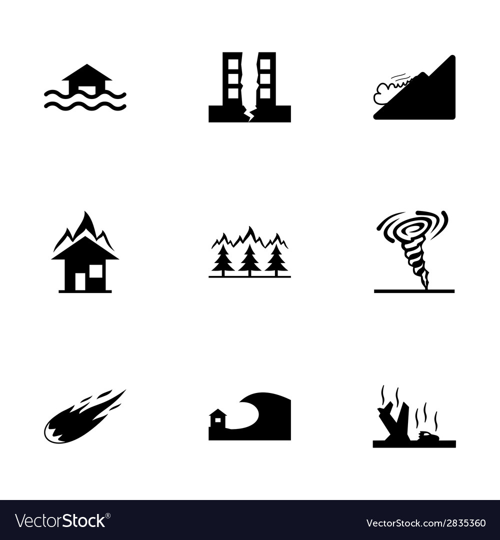 Black disaster icons set vector | Price: 1 Credit (USD $1)