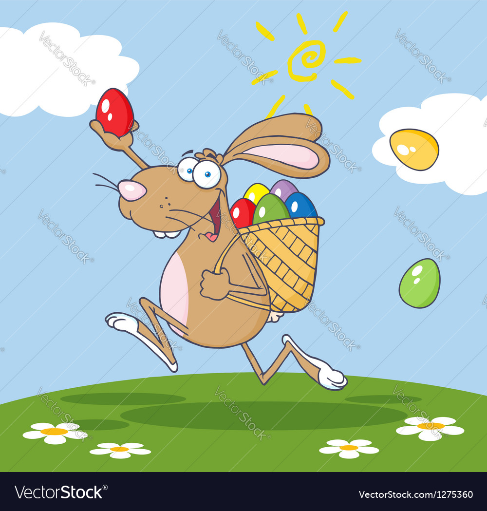 Brown bunny participating in an easter egg hunt vector | Price: 1 Credit (USD $1)