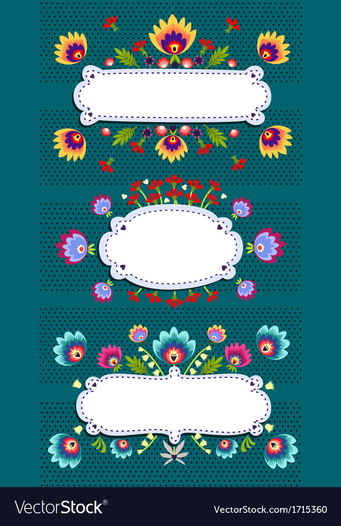 Frame banner with folk pattern vector | Price: 1 Credit (USD $1)