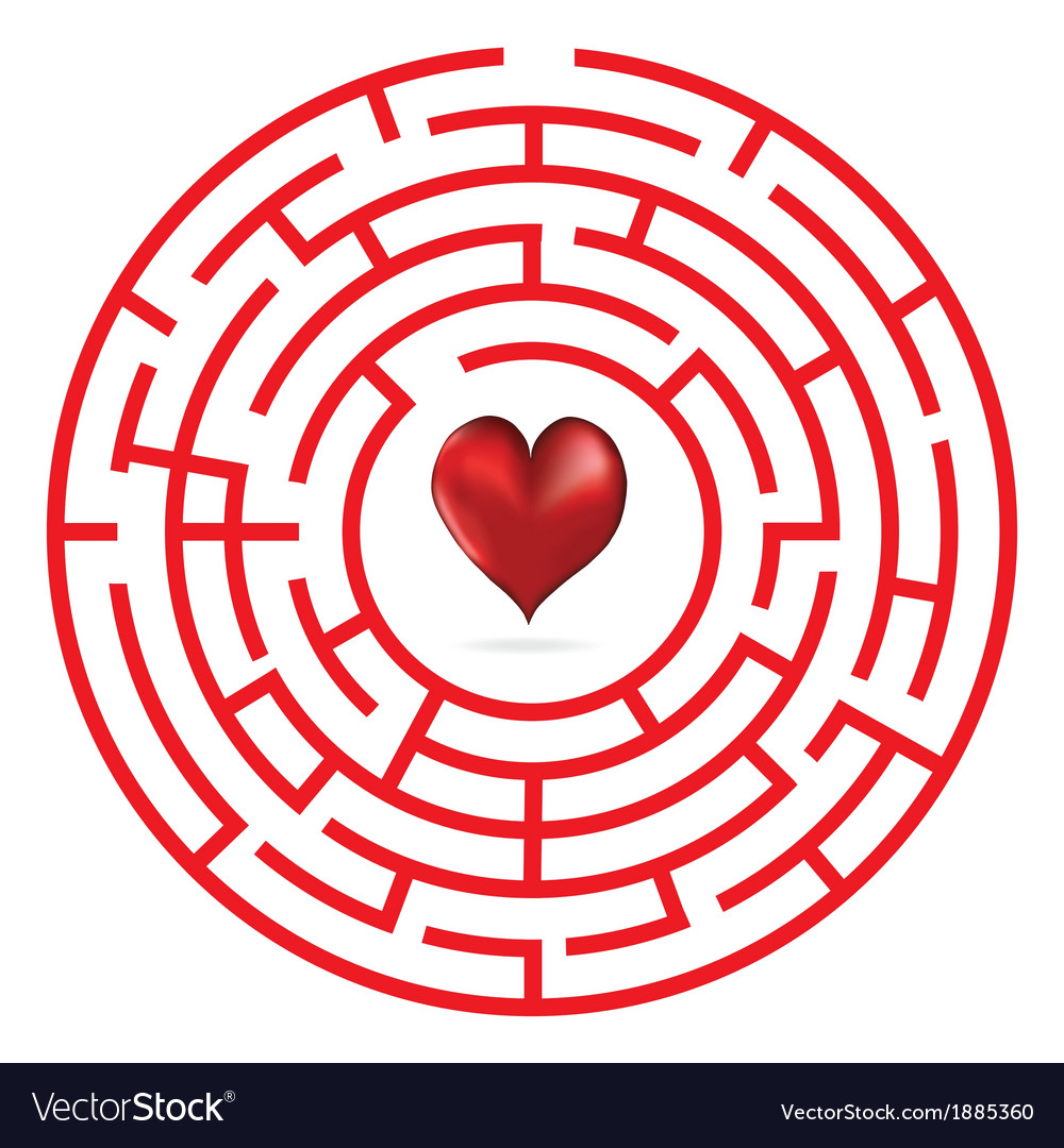 Love heart maze or labyrinth vector | Price: 1 Credit (USD $1)