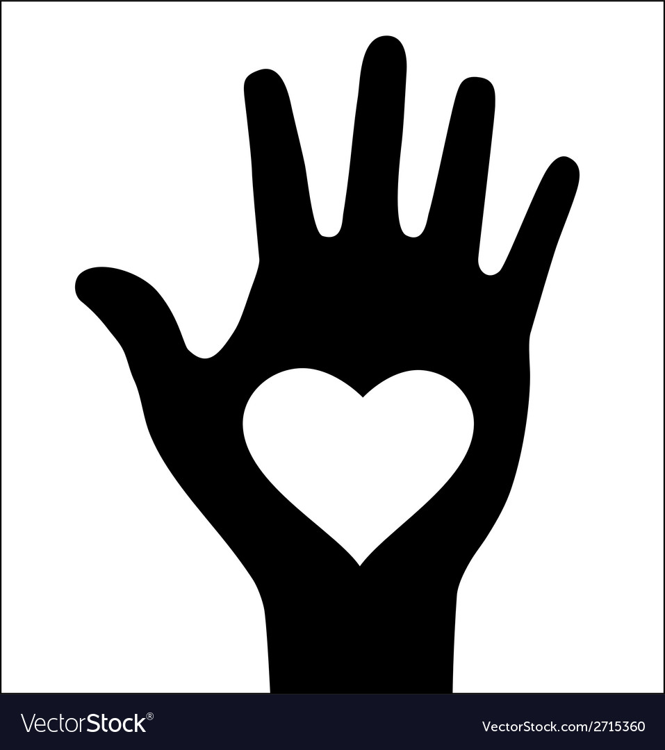 Thick hand with heart icon vector | Price: 1 Credit (USD $1)