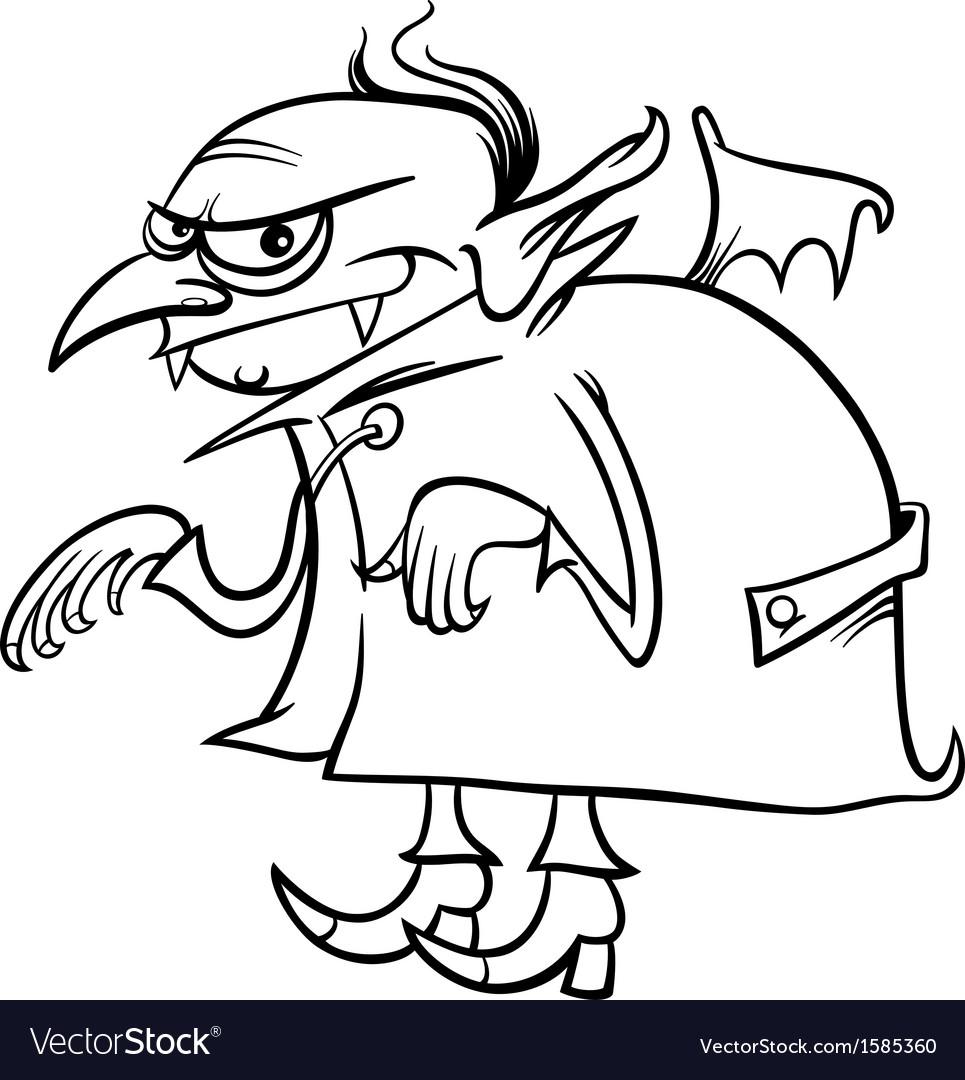 Vampire cartoon for coloring book vector   Price: 1 Credit (USD $1)