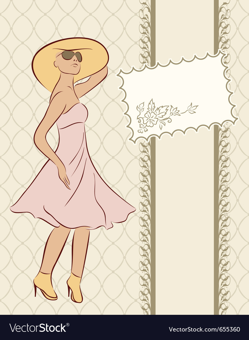 Vintage girl with card sketch style - vector | Price: 1 Credit (USD $1)