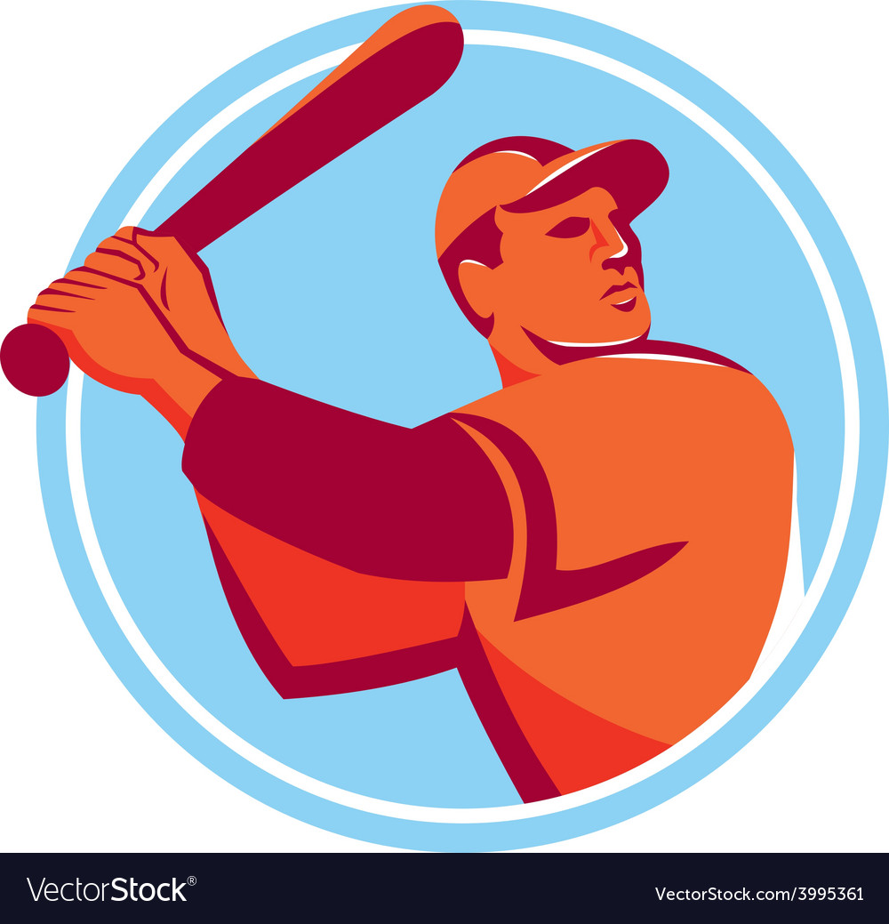 Baseball batter batting bat circle retro vector | Price: 1 Credit (USD $1)