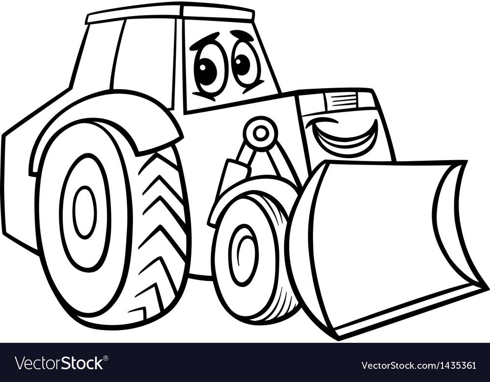 Bulldozer cartoon for coloring book vector | Price: 1 Credit (USD $1)