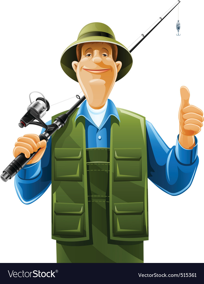 Fisherman with rod spinning vector | Price: 5 Credit (USD $5)