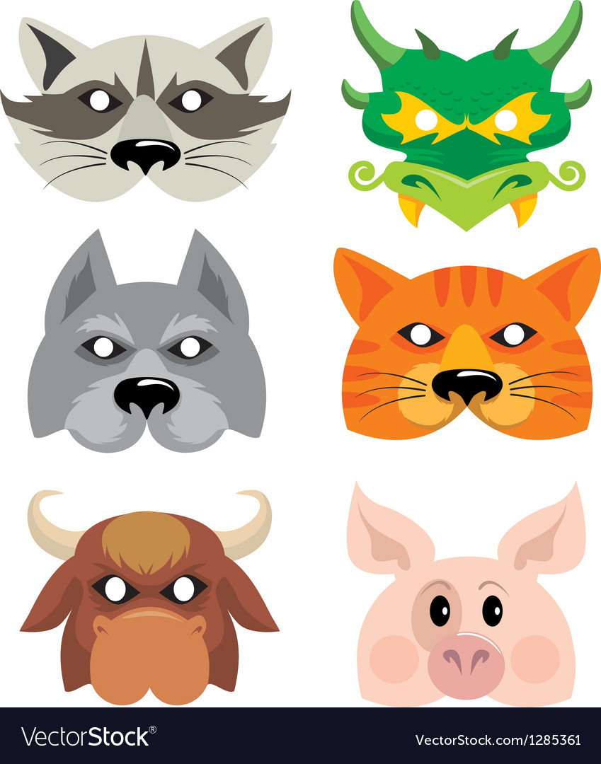 Mask animals vector | Price: 1 Credit (USD $1)