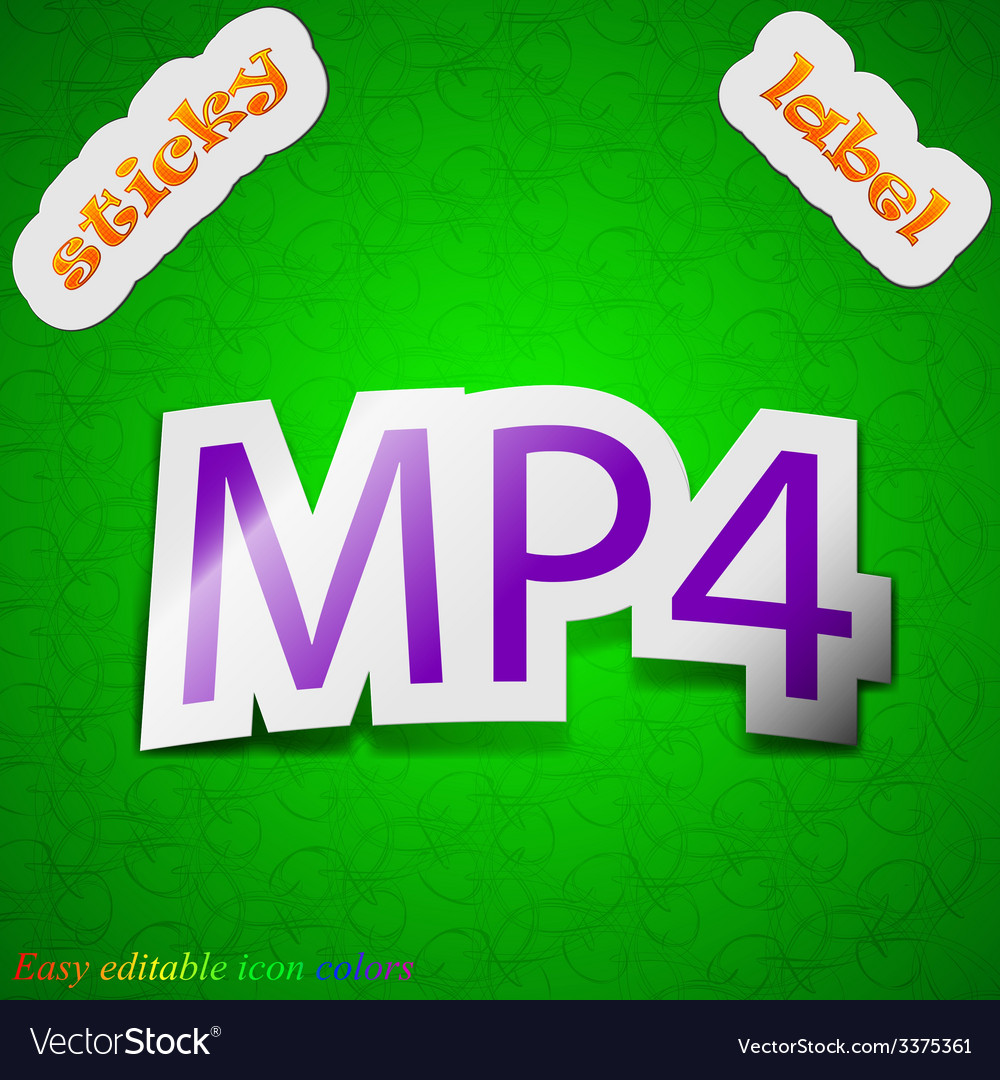 Mpeg4 video format icon sign symbol chic colored vector   Price: 1 Credit (USD $1)