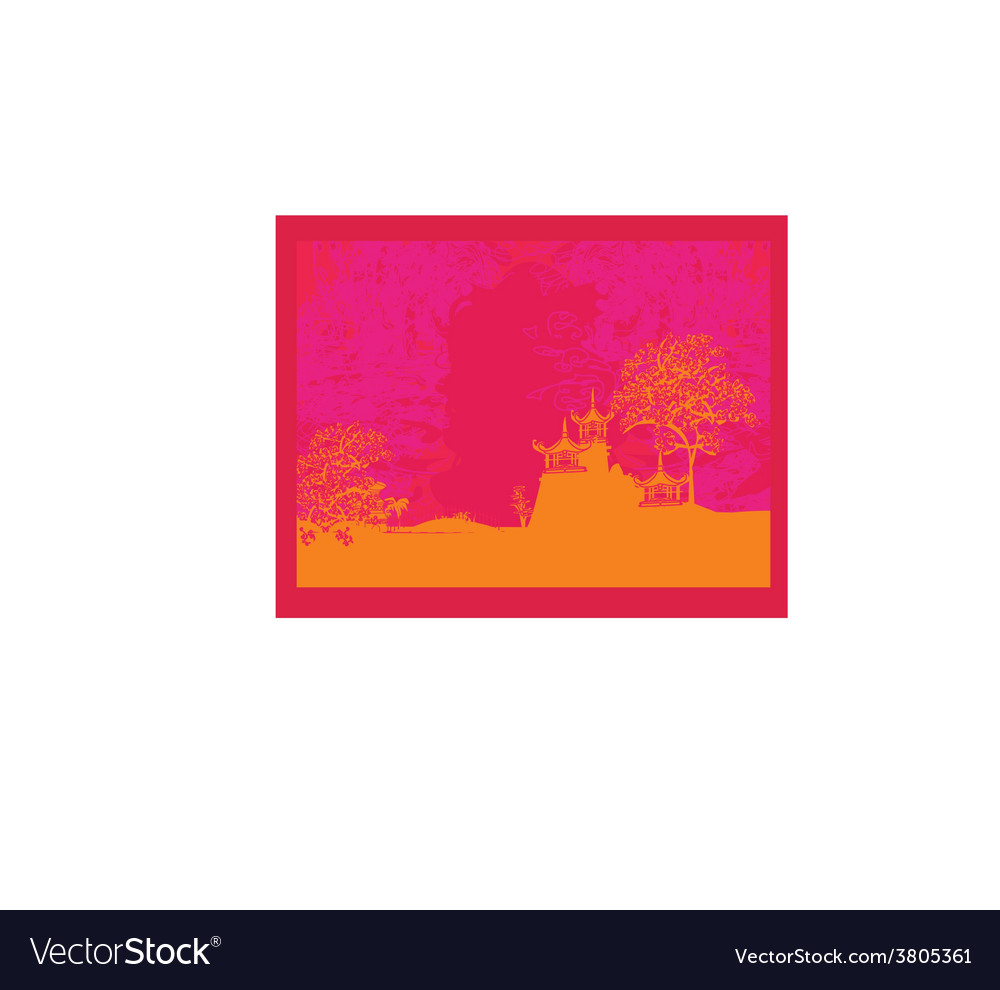 Old paper with japanese old building on abstract vector | Price: 1 Credit (USD $1)