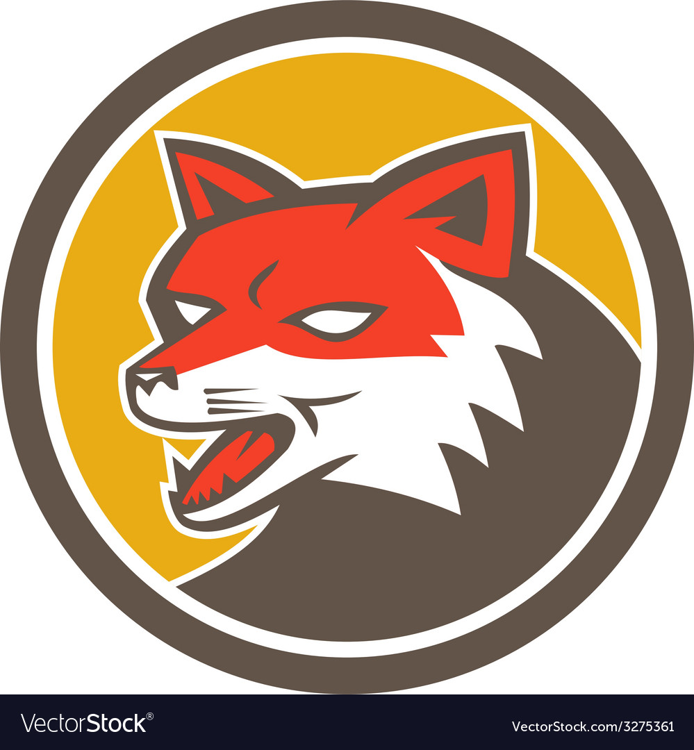 Red fox head growling circle retro vector | Price: 1 Credit (USD $1)