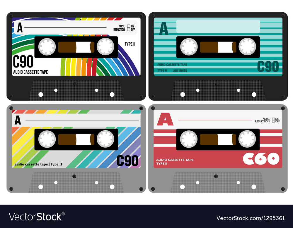 Retro audio cassette tapes vector