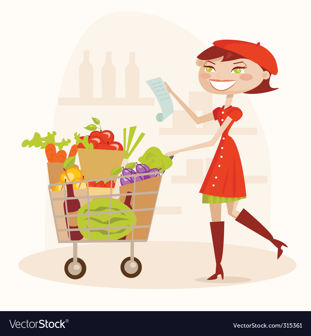 Supermarket shopping vector | Price: 3 Credit (USD $3)