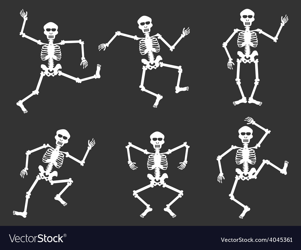 White skull dancer silhouettes vector | Price: 1 Credit (USD $1)
