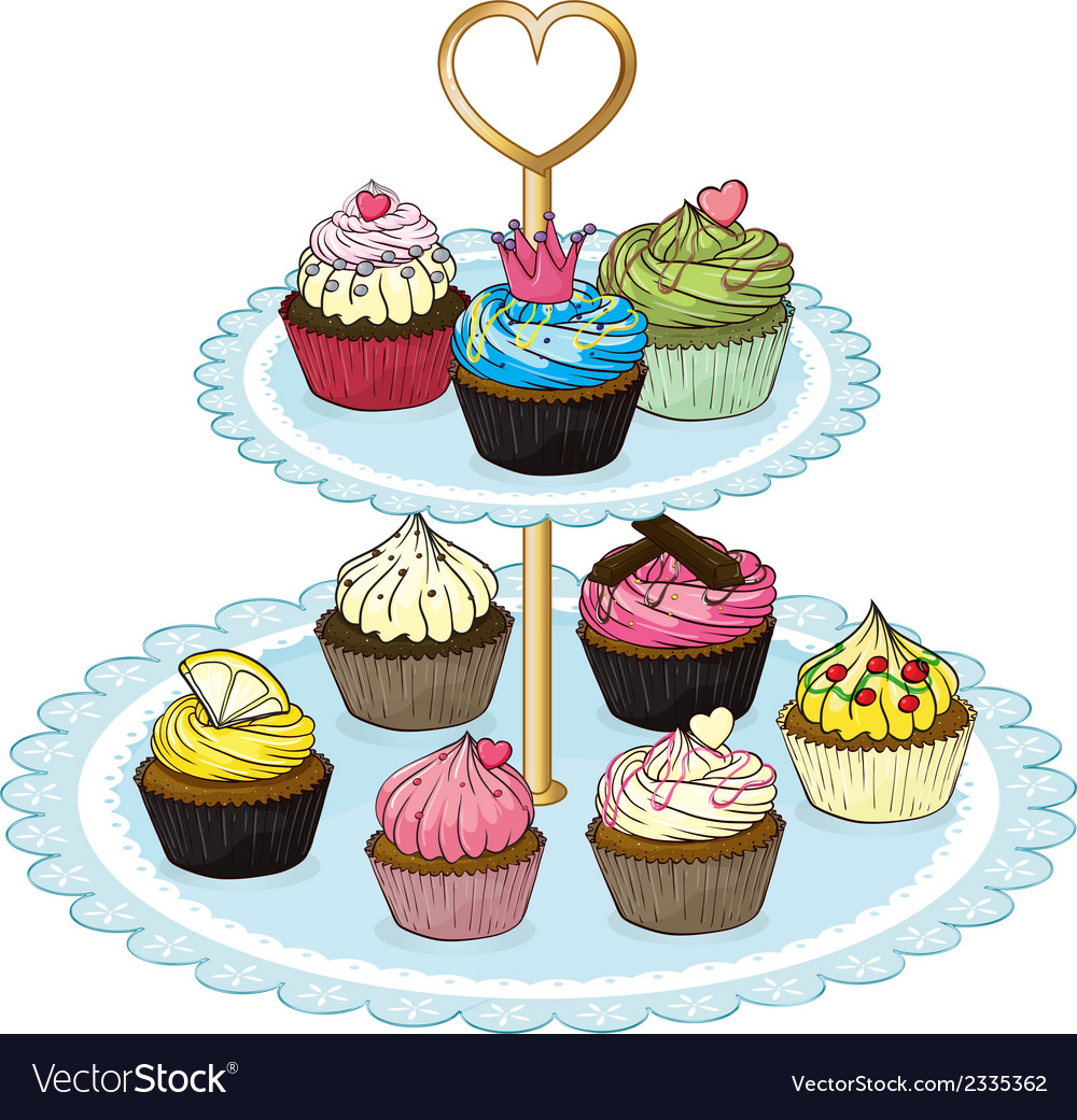 A cupcake tray full of cupcakes vector | Price: 1 Credit (USD $1)