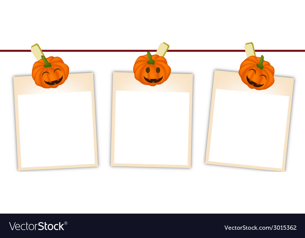 Blank photos with halloween pumpkin vector | Price: 1 Credit (USD $1)