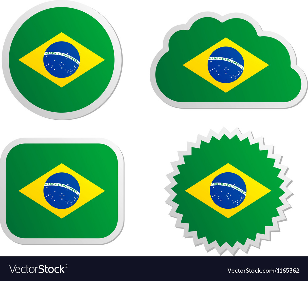 Brazil flag labels vector | Price: 1 Credit (USD $1)