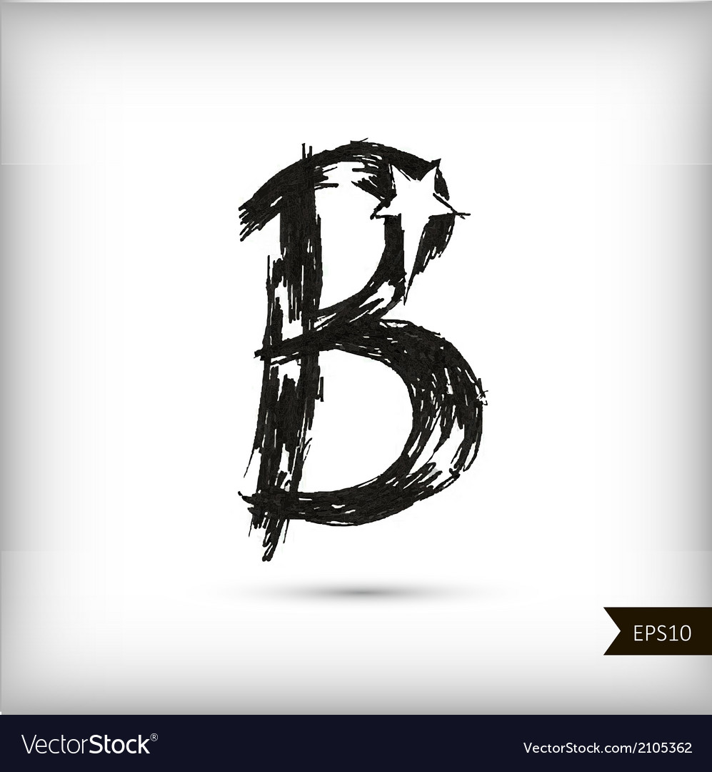 Calligraphic watercolor letter b vector | Price: 1 Credit (USD $1)