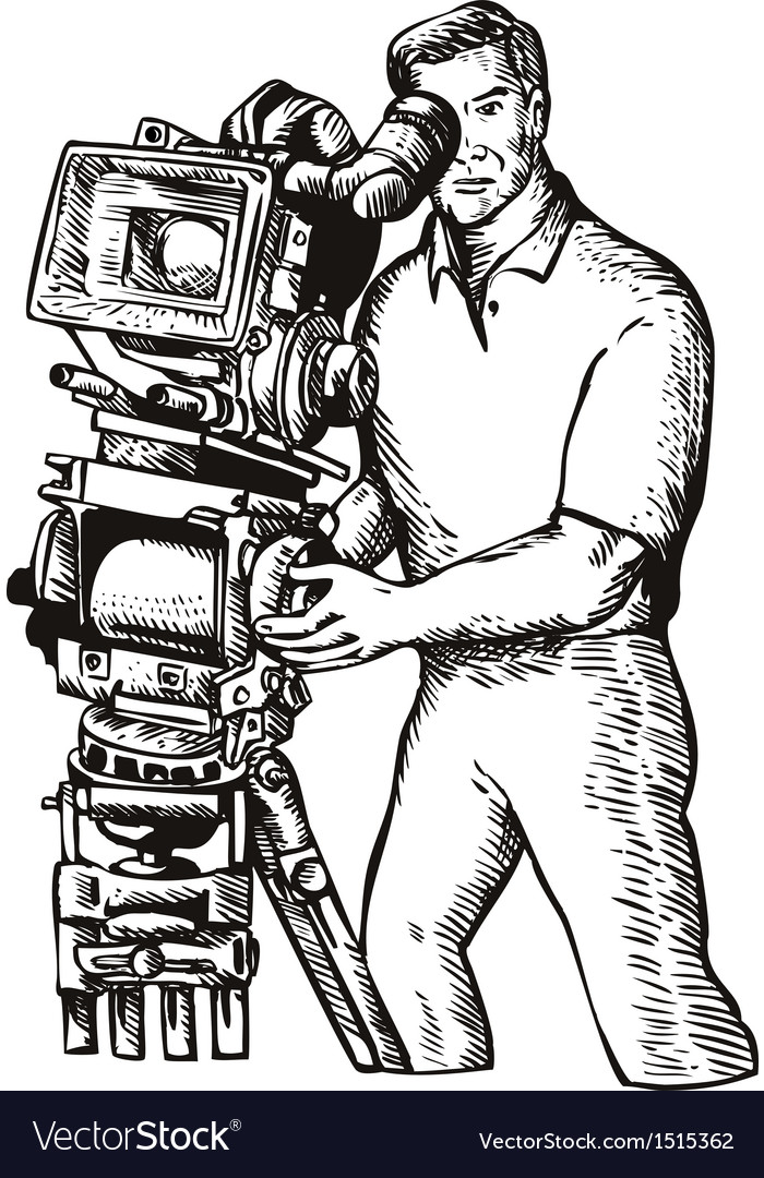 Cameraman movie director filming vintage camera vector   Price: 1 Credit (USD $1)