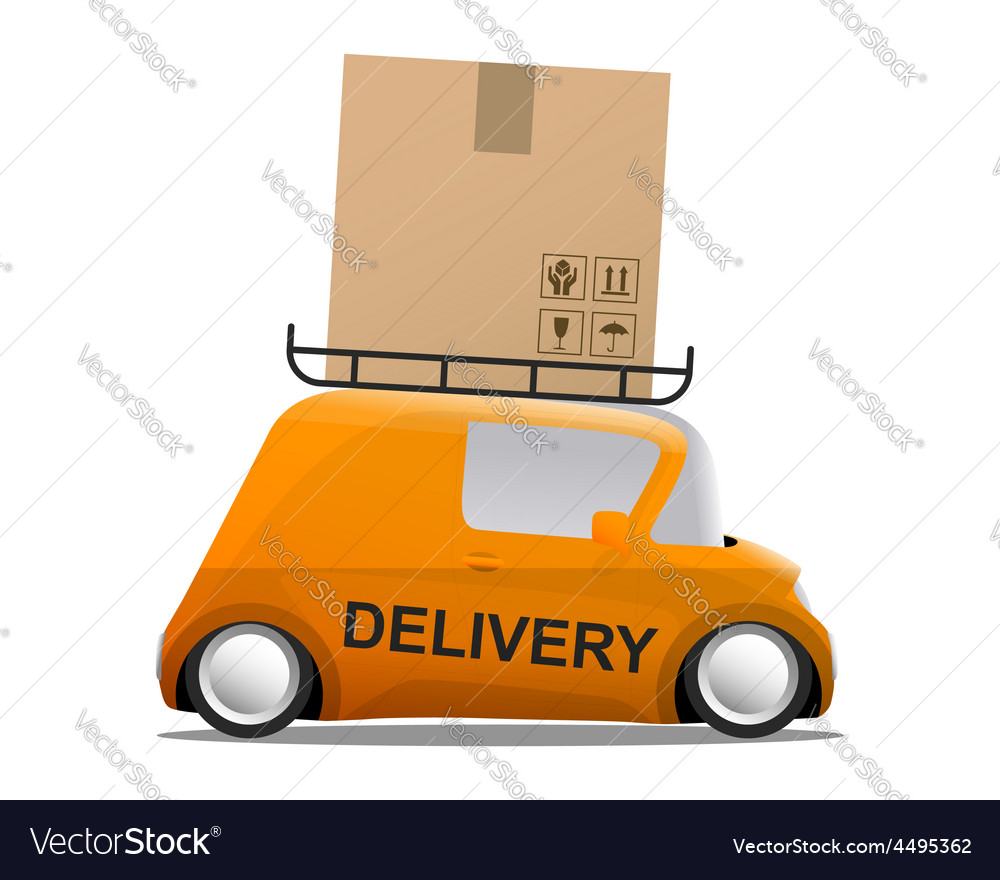 Delivery orange mini cartoon car with a box vector | Price: 1 Credit (USD $1)