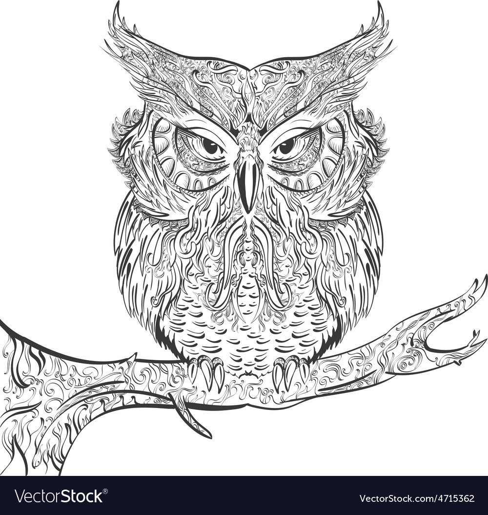 Gray owl ornament black on a white background vector   Price: 1 Credit (USD $1)