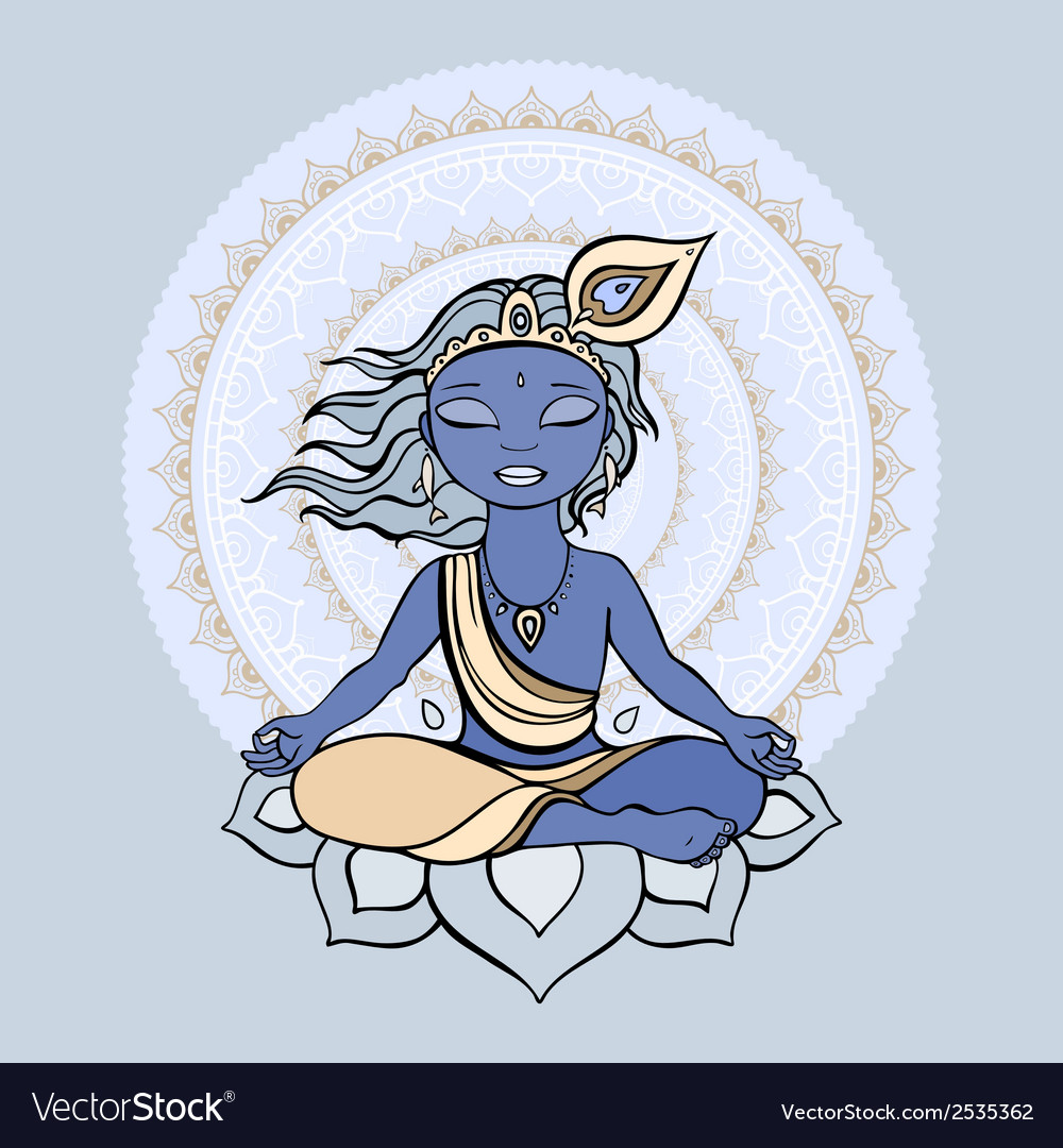 Hindu god krishna vector | Price: 1 Credit (USD $1)