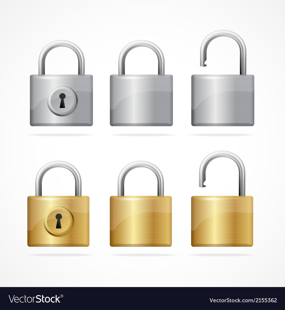 Locked and unlocked padlock set vector | Price: 1 Credit (USD $1)