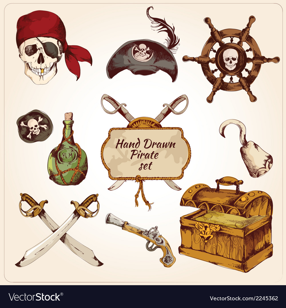 Pirates colored icons set vector | Price: 1 Credit (USD $1)