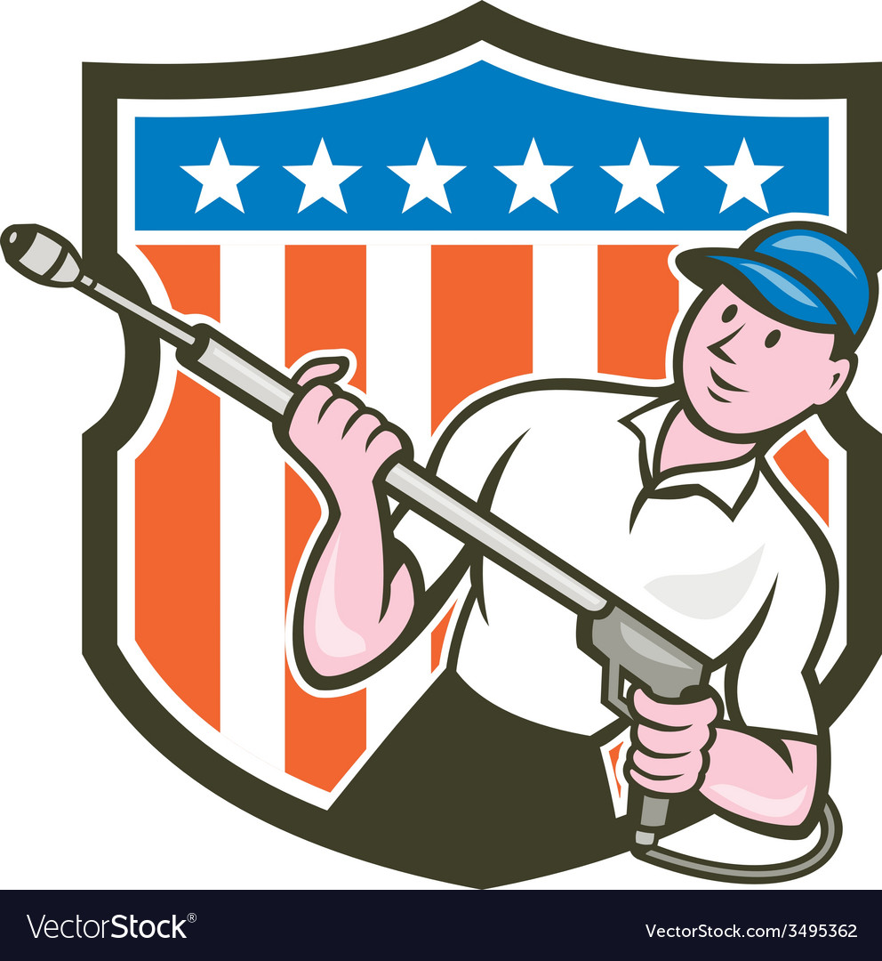 Pressure washer water blaster usa flag cartoon vector | Price: 1 Credit (USD $1)